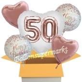 5 Luftballons zum 50. Geburtstag, Herz Jumbo 3D Sparkling Fizz  Birthday Roségold 50