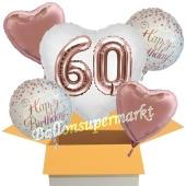 5 Luftballons zum 60. Geburtstag, Herz Jumbo 3D Sparkling Fizz Birthday Roségold 60