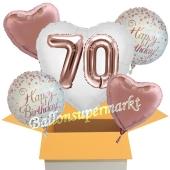 5 Luftballons zum 70. Geburtstag, Herz Jumbo 3D Sparkling Fizz  Birthday Roségold 70