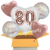 5 Luftballons zum 80. Geburtstag, Herz Jumbo 3D Sparkling Fizz  Birthday Roségold 80