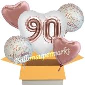 5 Luftballons zum 90. Geburtstag, Herz Jumbo 3D Sparkling Fizz  Birthday Roségold 90