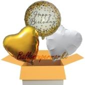 Happy Birthday Gold, 3 Stück Luftballons aus Folie zum Geburtstag, inklusive Helium