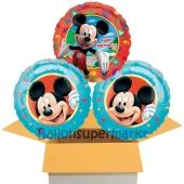 Happy Birthday Micky Maus , 3 Stück Luftballons aus Folie zum Geburtstag, inklusive Helium