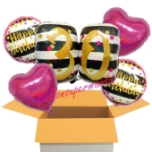 5 Luftballons zum 30. Geburtstag, Pink and Gold Milestone Birthday 30