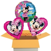 Happy Birthday Minnie Maus , 3 Stück Luftballons aus Folie zum Geburtstag, inklusive Helium