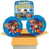 Happy Birthday Paw Patrol - Helfer auf vier Pfoten, 3 Stück Luftballons aus Folie zum Geburtstag, inklusive Helium