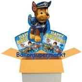 3 Geburtstags-Luftballons, Happy Birthday Paw Patrol, Ballons mit Helium