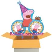 3 Geburtstags-Luftballons, Happy Birthday Peppa Wutz, Ballons mit Helium