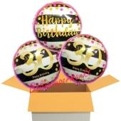 3 Luftballons aus Folie zum 30. Geburtstag, Pink & Gold Milestone Birthday