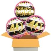 3 Luftballons aus Folie zum 40. Geburtstag, Pink & Gold Milestone Birthday