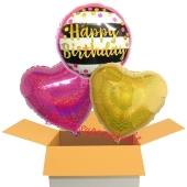 Happy Birthday Pink and Gold Milestone, 3 Stück Luftballons aus Folie zum Geburtstag, inklusive Helium