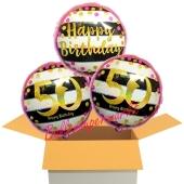 3 Luftballons aus Folie zum 50. Geburtstag, Pink & Gold Milestone Birthday