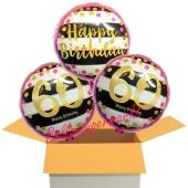 3 Luftballons aus Folie zum 60. Geburtstag, Pink & Gold Milestone Birthday