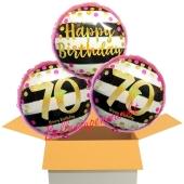 3 Luftballons aus Folie zum 70. Geburtstag, Pink & Gold Milestone Birthday