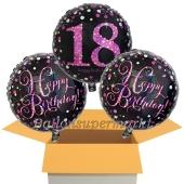 3 Luftballons aus Folie zum 18. Geburtstag, Pink Celebration