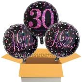3 Luftballons aus Folie zum 30. Geburtstag, Pink Celebration