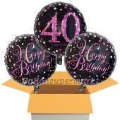 3 Luftballons aus Folie zum 40. Geburtstag, Pink Celebration