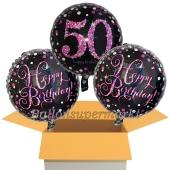 3 Luftballons aus Folie zum 50. Geburtstag, Pink Celebration