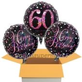 3 Luftballons aus Folie zum 60. Geburtstag, Pink Celebration