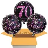 3 Luftballons aus Folie zum 70. Geburtstag, Pink Celebration