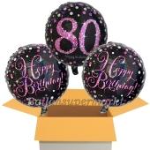 3 Luftballons aus Folie zum 80. Geburtstag, Pink Celebration