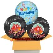 Happy Birthday to you Rock & Roll, 3 Stück Luftballons aus Folie zum Geburtstag, inklusive Helium