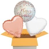 Happy Birthday Roségold, 3 Stück Luftballons aus Folie zum Geburtstag, inklusive Helium