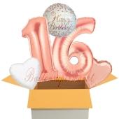 5 Luftballons zum 16. Geburtstag, Sparkling Fizz Birthday Roségold 16
