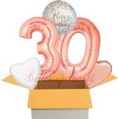 5 Luftballons zum 30. Geburtstag, Sparkling Fizz  Birthday Roségold 30