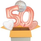 5 Luftballons zum 50. Geburtstag, Sparkling Fizz  Birthday Roségold 50