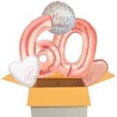 5 Luftballons zum 60. Geburtstag, Sparkling Fizz Birthday Roségold 60