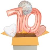 5 Luftballons zum 70. Geburtstag, Sparkling Fizz  Birthday Roségold 70