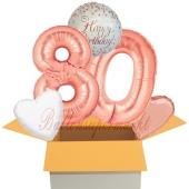 5 Luftballons zum 80. Geburtstag, Sparkling Fizz  Birthday Roségold 80