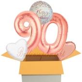 5 Luftballons zum 90. Geburtstag, Sparkling Fizz  Birthday Roségold 90