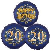 Satin Navy & Gold 20 Happy Birthday, Luftballons aus Folie zum 20. Geburtstag, inklusive Helium