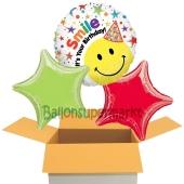 Smile It's Your Birthday, 3 Stück Luftballons aus Folie zum Geburtstag, inklusive Helium