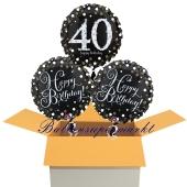 3 Luftballons aus Folie zum 40. Geburtstag, Sparkling Celebration