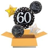 5 Luftballons aus Folie zum 60. Geburtstag, Sparkling Celebration Birthday 60