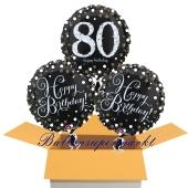 3 Luftballons aus Folie zum 80. Geburtstag, Sparkling Celebration