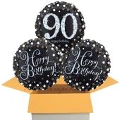 3 Luftballons aus Folie zum 90. Geburtstag, Sparkling Celebration