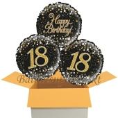 3 Luftballons aus Folie zum 18. Geburtstag, Sparkling Fizz Birthday Gold 18