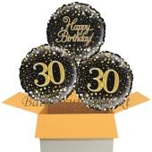 3 Luftballons aus Folie zum 30. Geburtstag, Sparkling Fizz Birthday Gold 30