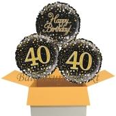 3 Luftballons aus Folie zum 40. Geburtstag, Sparkling Fizz Birthday Gold 40