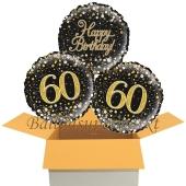 3 Luftballons aus Folie zum 60. Geburtstag, Sparkling Fizz Birthday Gold 60