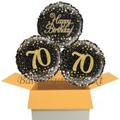 3 Luftballons aus Folie zum 70. Geburtstag, Sparkling Fizz Birthday Gold 70