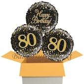 3 Luftballons aus Folie zum 80. Geburtstag, Sparkling Fizz Birthday Gold 80
