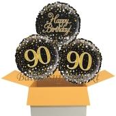 3 Luftballons aus Folie zum 90. Geburtstag, Sparkling Fizz Birthday Gold 90