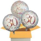 3 Luftballons aus Folie zum 30. Geburtstag, Sparkling Fizz Birthday Roségold 30