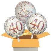 3 Luftballons aus Folie zum 40. Geburtstag, Sparkling Fizz Birthday Roségold 40