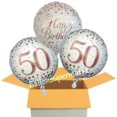 3 Luftballons aus Folie zum 50. Geburtstag, Sparkling Fizz Birthday Roségold 50